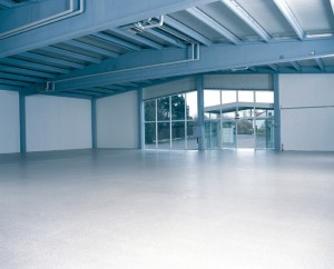 A warehouse with smooth resin flooring