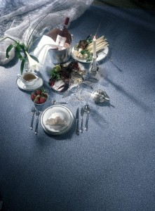 Different types of food elegantly displayed on kitchen flooring.